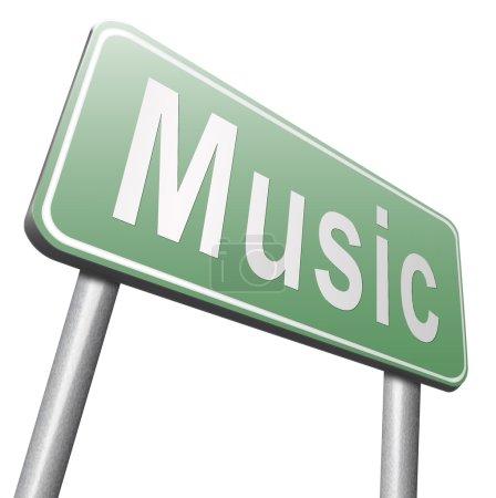 Photo pour Panneau de signalisation de la musique, panneau d'affichage sur fond blanc - image libre de droit