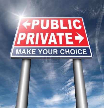 Public or private road sign on sky background...
