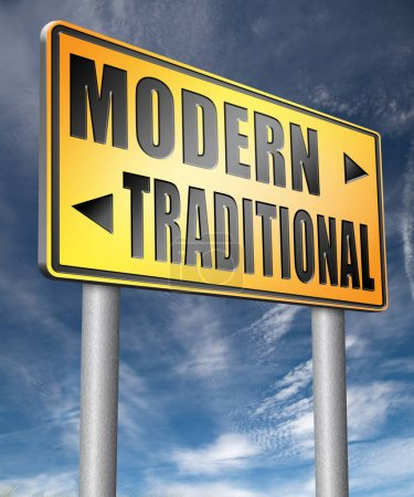 Modern or traditional road sign 3D illustration