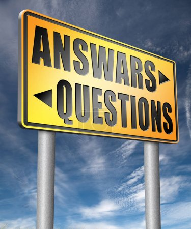 questions answers road sign 3D illustration