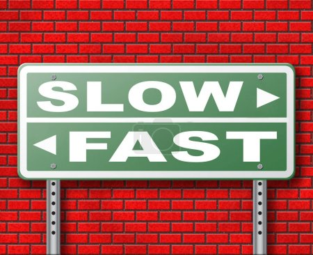 Fast or slow road sign on brick wall background