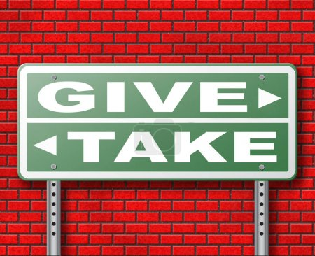 Give or take road sign on brick wall background