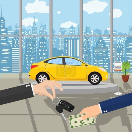 Illustration pour Main donne des clés de voiture à une autre main. acheter, louer ou louer une voiture. Pavillon d'exposition, showroom ou concessionnaire avec voiture jaune, illustration vectorielle dans un style plat. Main tenant de l'argent - image libre de droit