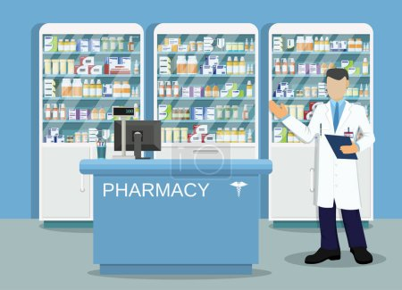 Illustration for Modern interior pharmacy or drugstore with male pharmacist at the counter. Medicine pills capsules bottles vitamins and tablets. vector illustration in flat style - Royalty Free Image