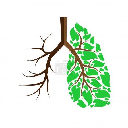 Illustration pour Poumons humains avec des feuilles vertes et sans feuilles - image libre de droit