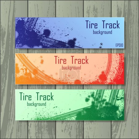 Set of three tire track banners isolated on wooden background