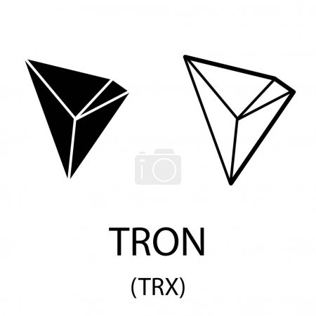 Black tron cryptocurrency symbol isolated on white...