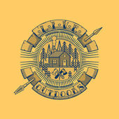 Hand drawn round emblem of lumberman's house in woods over yellow background Live outdoors text