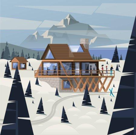 wooden mountain cabin