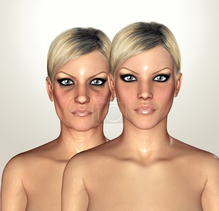 3d illustrations of female figures showing aging concept