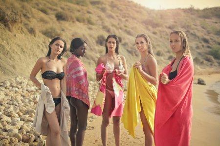 women on the beach