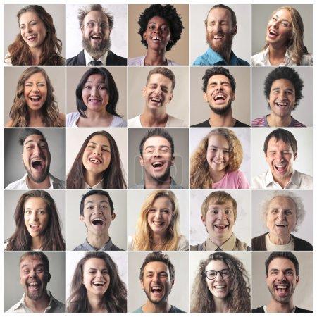 Photo pour Série de gens qui rient - image libre de droit
