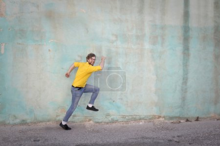 Man imitating running