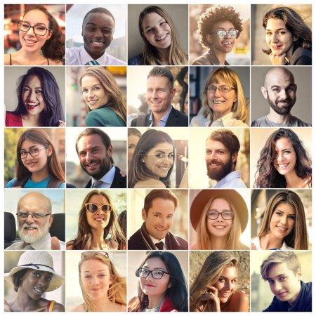 Photo pour Série de photos de personnes souriantes - image libre de droit