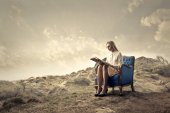 Woman reading on sofa