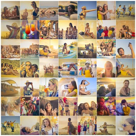 Photo for Collage of pictures of people on vacation in the summer - Royalty Free Image