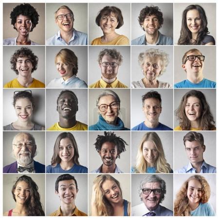 Photo pour Collage de différentes personnes souriant à l'intérieur - image libre de droit