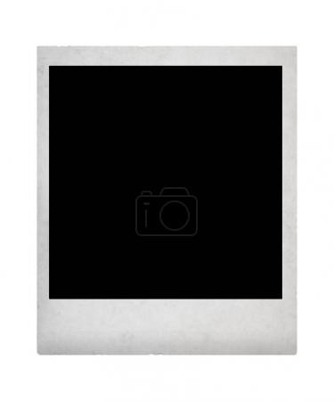 Vintage instant photo with black picture on it