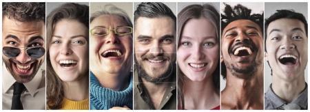 Photo pour Collage de différentes personnes riant à l'intérieur - image libre de droit