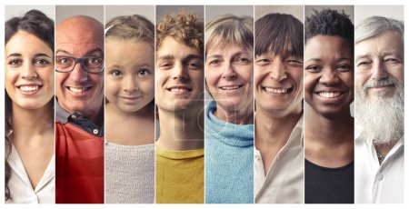 Collage of people of different ages and nationalities smiling