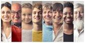 """Постер, картина, фотообои """"Коллаж из людей разных возрастов и национальностей улыбается"""""""