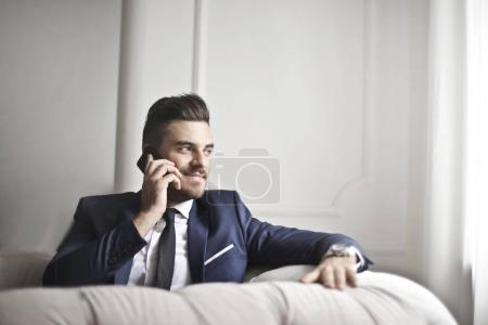 Businessman doing a phone call