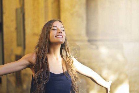 Girl with open arms