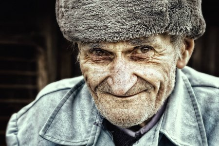 Photo for Old senior man smiling for outdoor portrait. East european people - Royalty Free Image