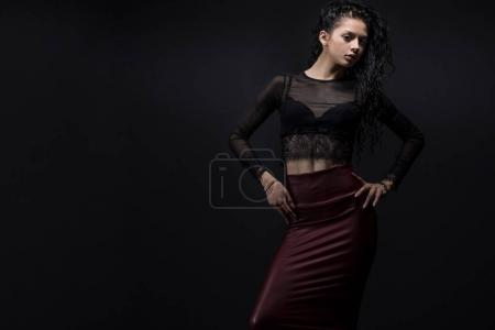 Photo for Beauty Model girl with Healthy curly black  Hair. - Royalty Free Image