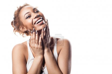 Photo for Happy beautiful African American woman with curly hair. - Royalty Free Image