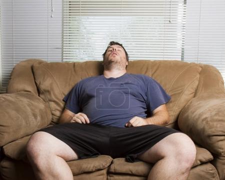 fat man fell asleep