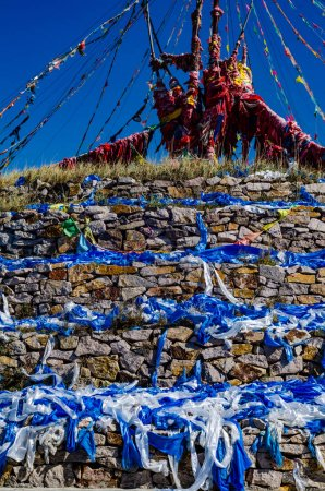 heaps of stones used by the Mongolians and Tibetans as sign of their religion and belief