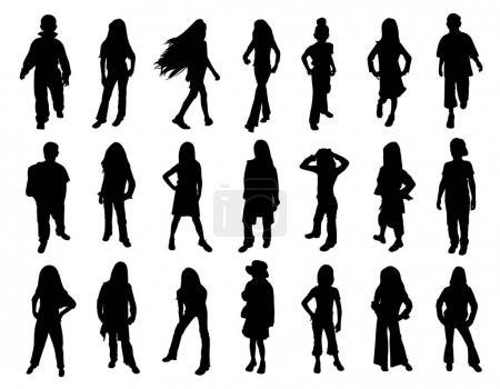Illustration pour Vingt et une silhouettes d'enfants mannequins au défilé de mode. Fond blanc isolé. Fichier EPS disponible . - image libre de droit