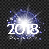Beautiful blue fireworks with a bright flash of light and the words Happy New Year 2018 on a transparent backgroun