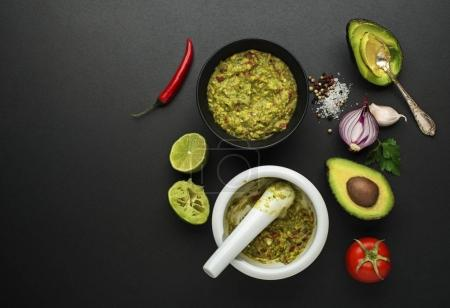 Guacamole sauce with fresh ingredients