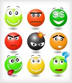Set smiles with different expression of emotions