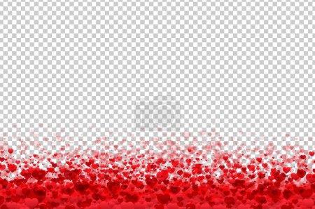 Illustration pour Carte postale de la Saint-Valentin avec Hearts Borders sur fond transparent, Illustration vectorielle - image libre de droit