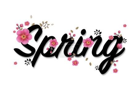 Illustration pour Printemps temps affiche avec fleurs isolés sur blanc, Illustration vectorielle - image libre de droit