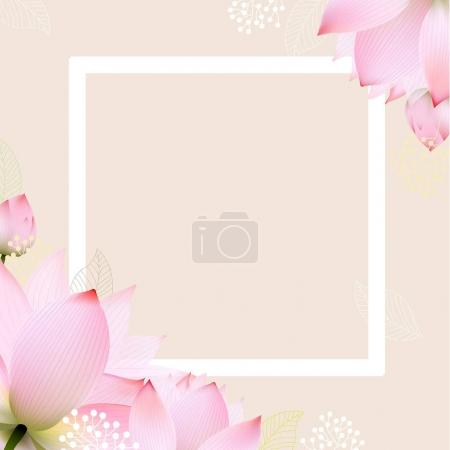 Illustration for Floral Border With Lotus, Vector Illustration - Royalty Free Image