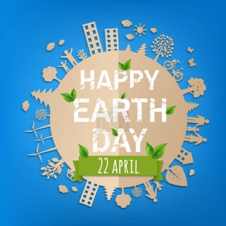 Illustration for Happy Earth Day Postcard With Gradient Mesh, Vector Illustration - Royalty Free Image