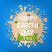 Happy Earth Day Postcard With Gradient Mesh Vector Illustration