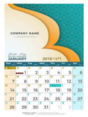 01 January Hijri 1439 to 1440 islamic calendar 2018 design template Simple minimal elegant desk calendar hijri 1439 1440 islamic pattern template with colorful graphic on white background