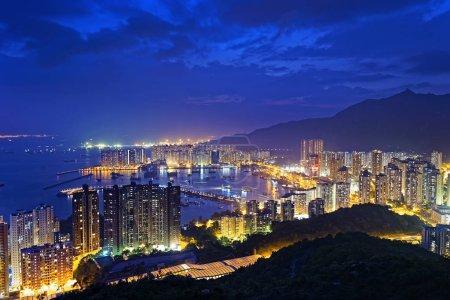 Tuen Mun skyline and South China sea at night