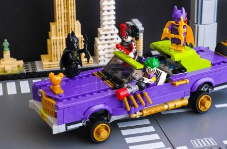 Lego The Joker Notorious Lowrider in the city street with Batman
