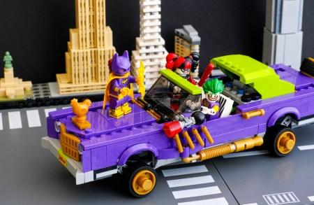 Lego The Joker Notorious Lowrider in city street with Batgirl, T