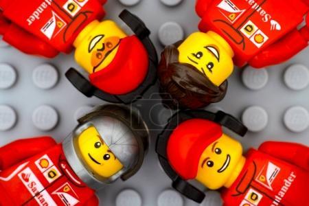 Four Lego Ferrari team crew