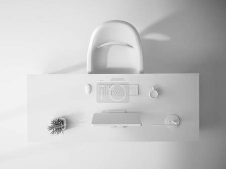 white interior top view 3D rendering