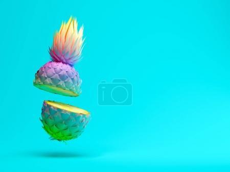 Multicolor slice pineapple on blue background 3 D ...