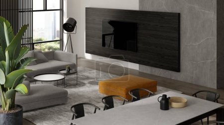 Photo for Minimalist Interior of modern living room 3 D rendering - Royalty Free Image