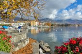 Flowers in embankment of town of Vevey and Lake Geneva, canton of Vaud